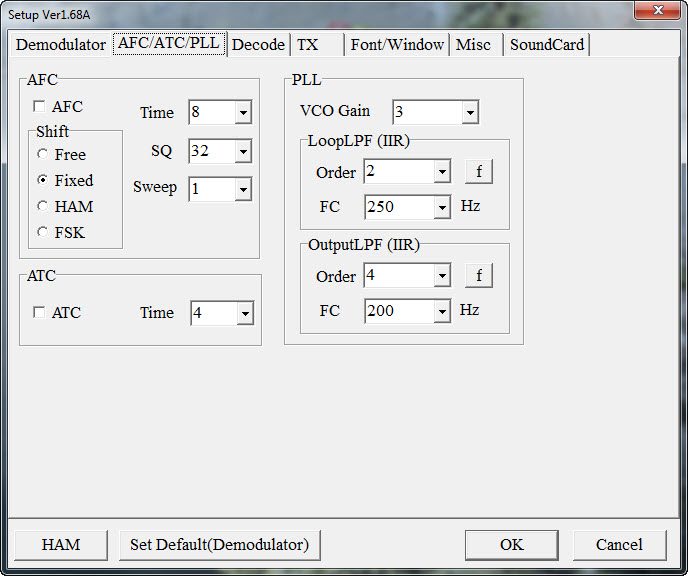 MMTTY AFC-ATC-PLL Tab IC7600