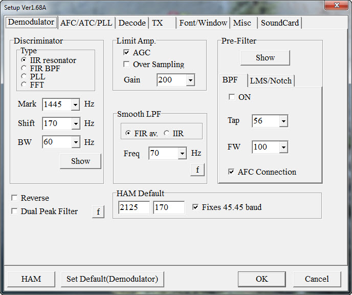 MMTTY Demod Tab IC7600